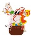 Sinterklaas wanddeco sint op paard 65 x 58 cm