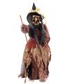 Staande heksen pop 50 cm rood