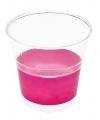 Transparante bekers met fuchsia roze rand