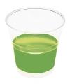Transparante bekers met groene rand