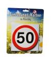 Uitnodigingen 50 jaar met verkeersborden print