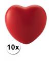 Valentijn 10 hartvormige stressballetjes rood