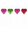 Valentijn hartjes kaarsjes gekleurd 8 stuks