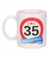 Verjaardag 35 jaar verkeersbord mok beker