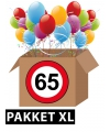 Verkeersbord 65 jaar feestartikelen pakket xl