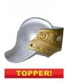 Voordelige ridder helm met gouden vizier