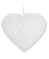 Wit decoratie hart 28 cm