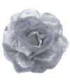 Zilveren glitter bloem accessoire