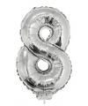 Zilveren opblaas cijfer 8 op stokje 41 cm