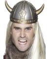 Zilveren viking helm met gouden hoorns
