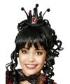 Zwart prinsessen kroontje met edelstenen