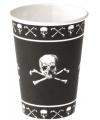 Zwarte piraten bekers met doodshoofd