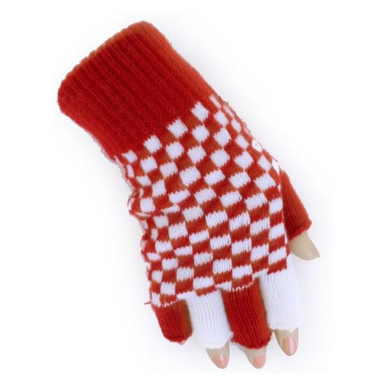 Vingerloze handschoen rood/wit geblokt