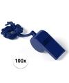 100x blauw fluitje aan koord