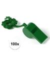 100x groen fluitje aan koord