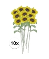 10x gele zonnebloem kunstbloemen 38 cm