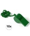 10x groen fluitje aan koord