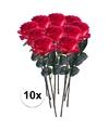 10x rood gele rozen simone kunstbloemen 45 cm