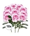 10x roze rozen carol kunstbloemen 37 cm