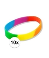 10x siliconen armbandjes regenboog