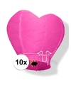 10x wensballon roze hart 100 cm