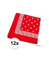 12x rode boeren zakdoeken met stippen