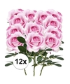 12x roze rozen carol kunstbloemen 37 cm