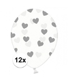 12x transparante ballonnen met hartjes zilver