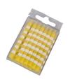 16 taartkaarsjes geel wit
