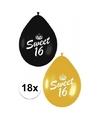 18x sweet 16 ballonnen zwart goud