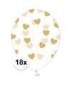 18x transparante ballonnen met hartjes goud