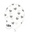 18x transparante ballonnen met hartjes zilver