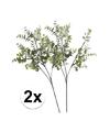 2 x grijs groene eucalyptus kunstplant tak 65 cm