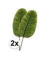 2 x groen bananenblad kunstplant tak 92 cm