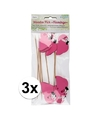 24 stuks flamingo prikkertjes