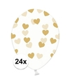 24x transparante ballonnen met hartjes goud