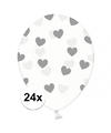 24x transparante ballonnen met hartjes zilver