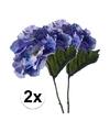 2x blauwe hortensia kunstbloemen tak 28 cm