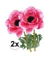 2x cerise anemoon kunstbloemen 47 cm