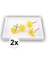2x gele rozen van satijn 12 cm