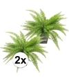 2x groen kunst varen 33 cm in pot
