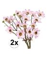 2x licht roze margriet kunstbloemen tak 44 cm