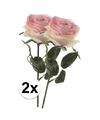 2x licht roze rozen simone kunstbloemen 45 cm