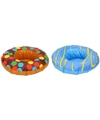 2x opblaasbare drankhouders 18 cm donuts bruin blauw