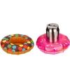 2x opblaasbare drankhouders 18 cm donuts bruin roze