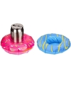 2x opblaasbare drankhouders 18 cm donuts roze blauw