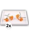2x oranje roosjes van satijn 12 cm