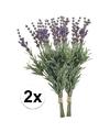 2x paarse lavendel kunstbloemen 33 cm
