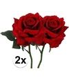 2x rode rozen deluxe kunstbloemen 31 cm