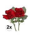 2x rode rozen kunstbloemen 30 cm